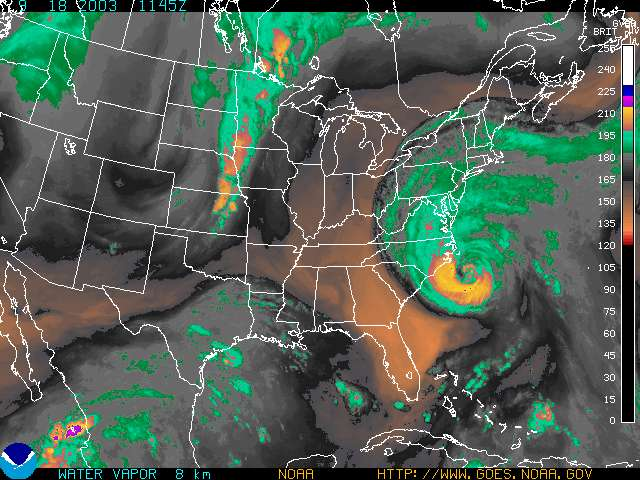 current color enhanced goes east water vapor image